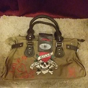 Authentic Ed Hardy Army Green Purse